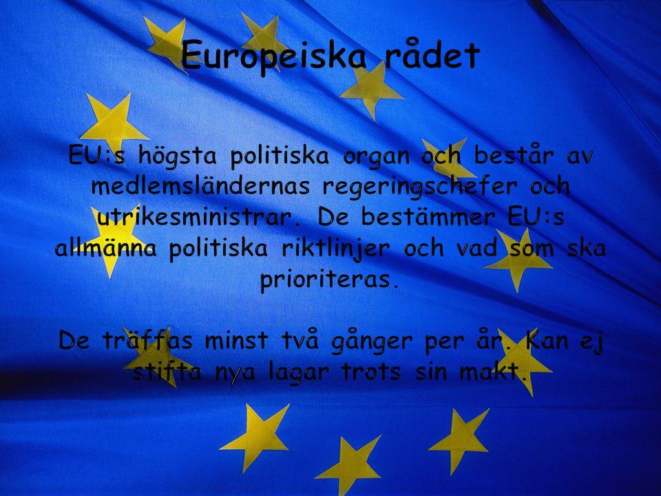 Europeiska rådet EU:s högsta politiska organ och består av medlemsländernas regeringschefer och utrikesministrar.