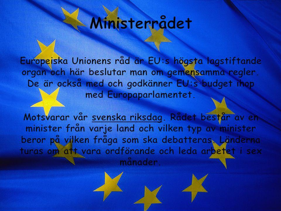 Ministerrådet Europeiska Unionens råd är EU:s högsta lagstiftande organ och här beslutar man om gemensamma regler.