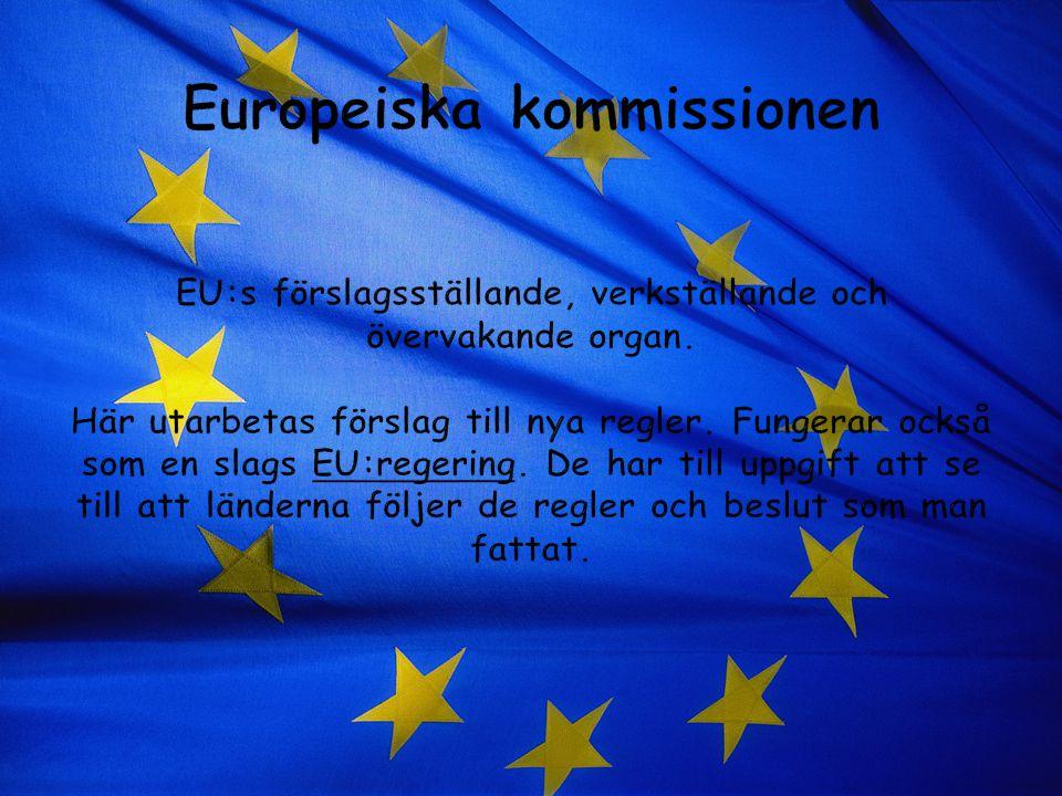 Europeiska kommissionen EU:s förslagsställande, verkställande och övervakande organ.