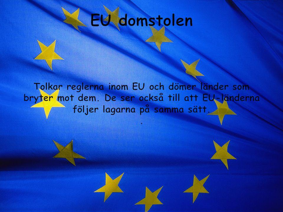 EU domstolen Tolkar reglerna inom EU och dömer länder som bryter mot dem.