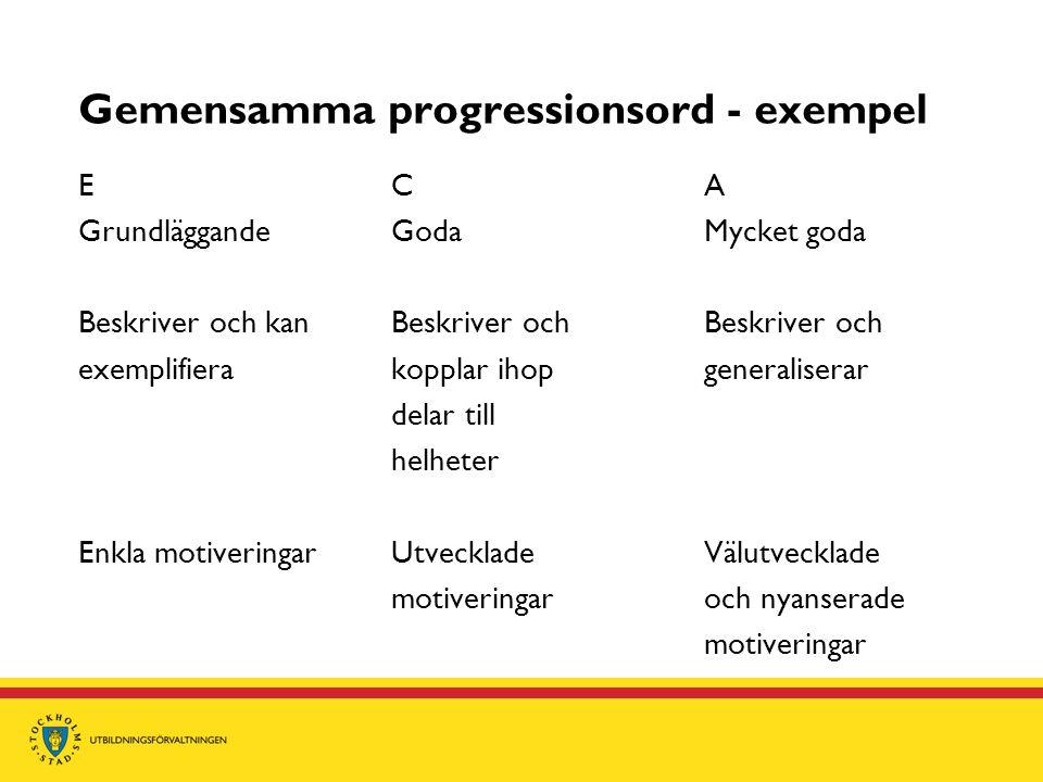 Gemensamma progressionsord - exempel