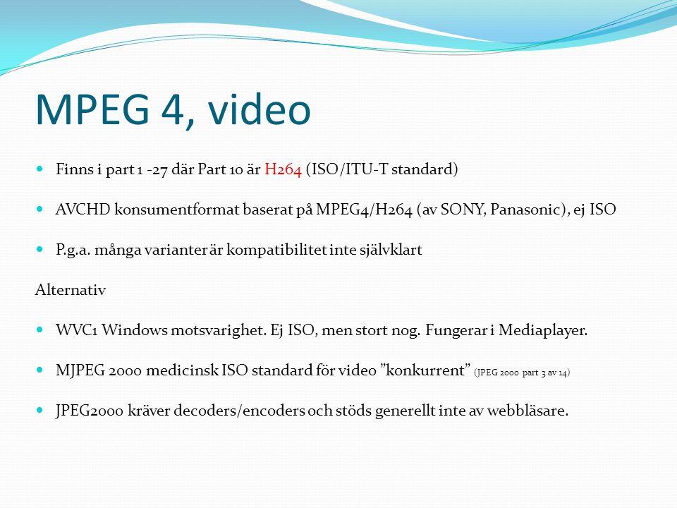 MPEG 4, video Finns i part 1 -27 där Part 10 är H264 (ISO/ITU-T standard) AVCHD konsumentformat baserat på MPEG4/H264 (av SONY, Panasonic), ej ISO.