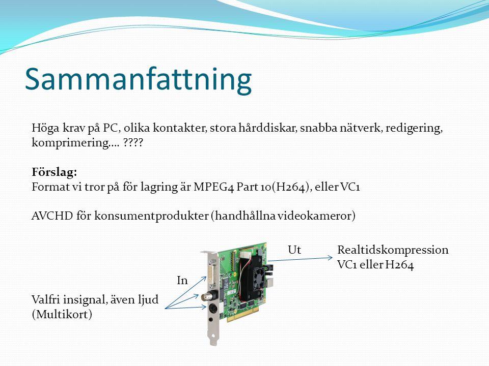 Sammanfattning Höga krav på PC, olika kontakter, stora hårddiskar, snabba nätverk, redigering, komprimering….