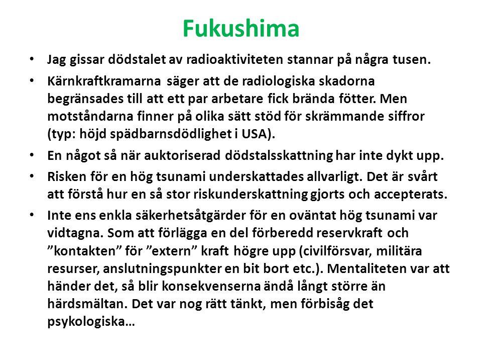 Fukushima Jag gissar dödstalet av radioaktiviteten stannar på några tusen.