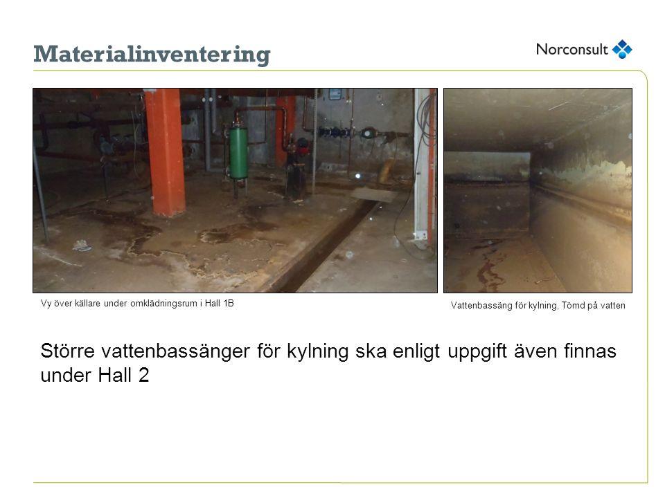 Materialinventering Vy över källare under omklädningsrum i Hall 1B. Vattenbassäng för kylning, Tömd på vatten.