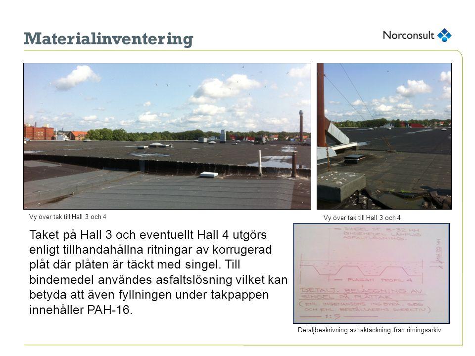 Materialinventering Vy över tak till Hall 3 och 4. Vy över tak till Hall 3 och 4.