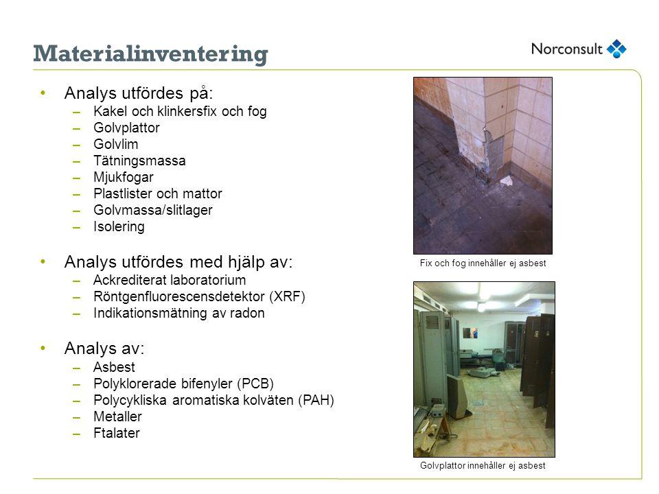 Materialinventering Analys utfördes på: Analys utfördes med hjälp av: