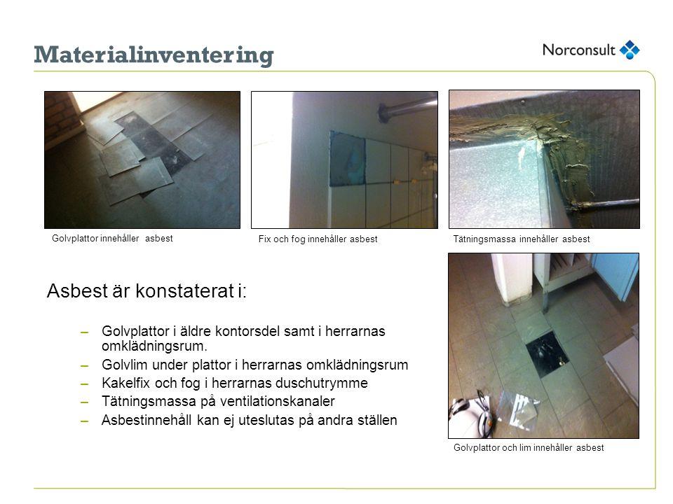 Materialinventering Asbest är konstaterat i: