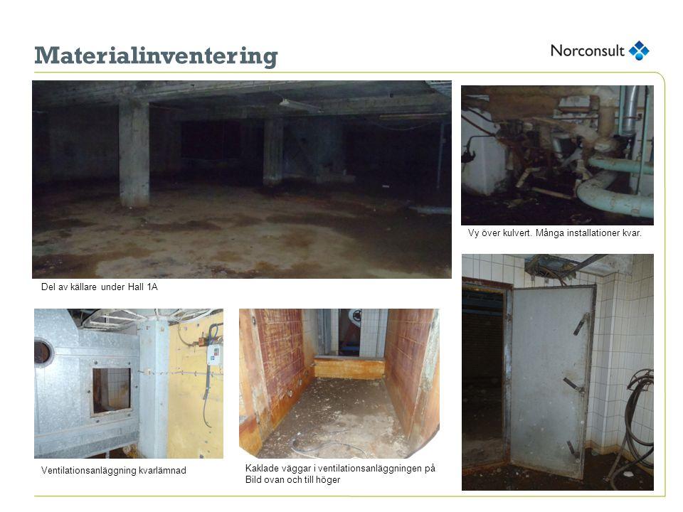 Materialinventering Vy över kulvert. Många installationer kvar.
