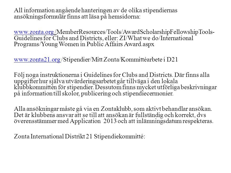 All information angående hanteringen av de olika stipendiernas ansökningsformulär finns att läsa på hemsidorna: