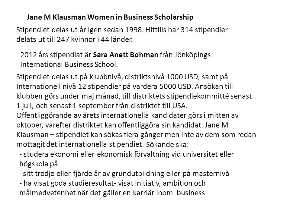 Jane M Klausman Women in Business Scholarship