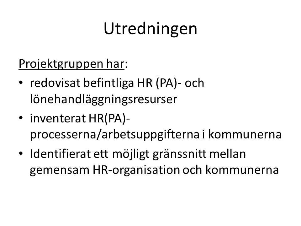 Utredningen Projektgruppen har: