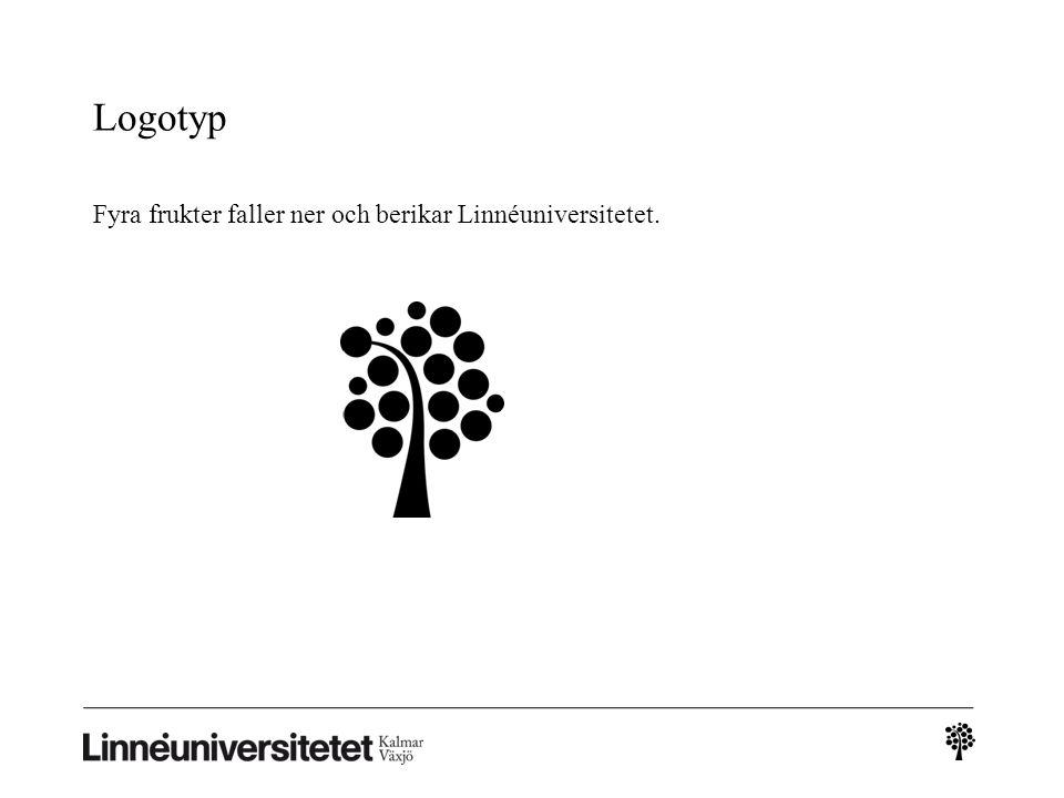 Logotyp Fyra frukter faller ner och berikar Linnéuniversitetet. 2
