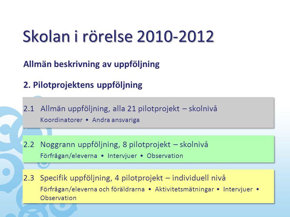 Skolan i rörelse 2010-2012 Allmän beskrivning av uppföljning