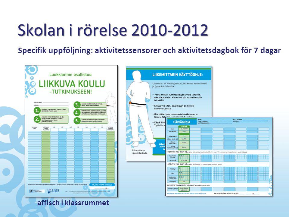 Skolan i rörelse 2010-2012 Specifik uppföljning: aktivitetssensorer och aktivitetsdagbok för 7 dagar.