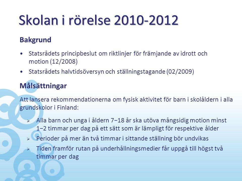 Skolan i rörelse 2010-2012 Bakgrund Målsättningar