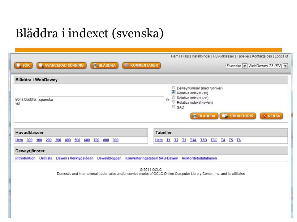 Bläddra i indexet (svenska)