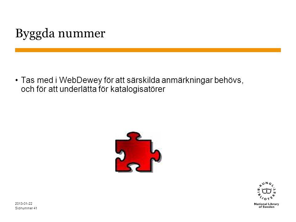 Byggda nummer Tas med i WebDewey för att särskilda anmärkningar behövs, och för att underlätta för katalogisatörer.