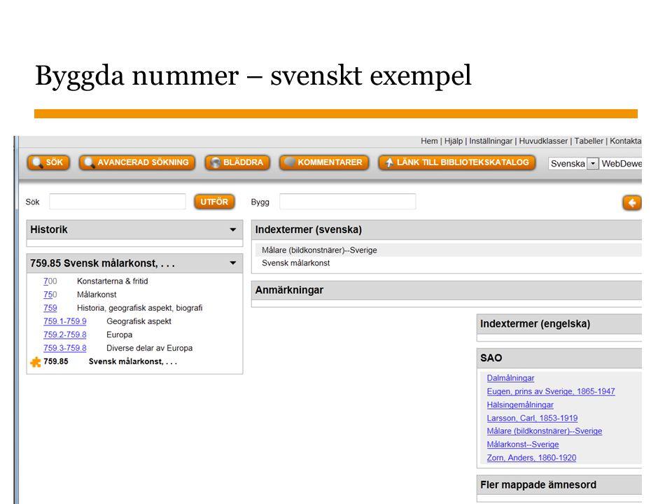 Byggda nummer – svenskt exempel