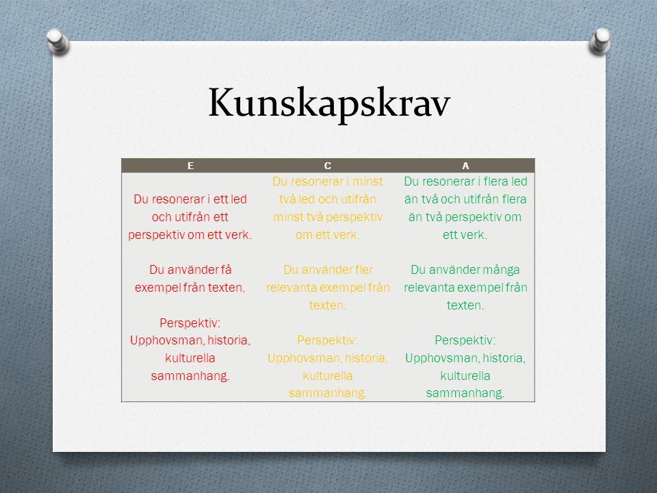 Kunskapskrav E. C. A. Du resonerar i ett led och utifrån ett perspektiv om ett verk. Du använder få exempel från texten.
