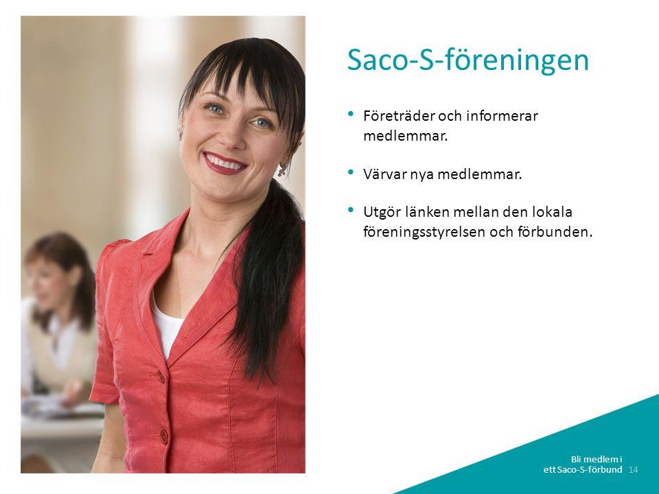 Saco-S-föreningen Företräder och informerar medlemmar.