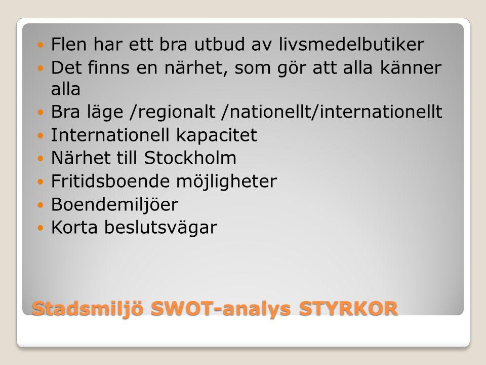 Stadsmiljö SWOT-analys STYRKOR