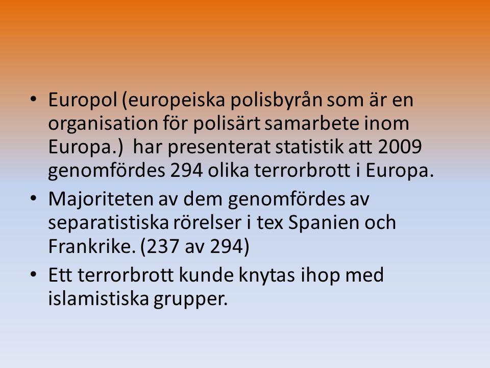 Europol (europeiska polisbyrån som är en organisation för polisärt samarbete inom Europa.) har presenterat statistik att 2009 genomfördes 294 olika terrorbrott i Europa.
