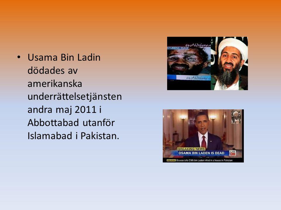 Usama Bin Ladin dödades av amerikanska underrättelsetjänsten andra maj 2011 i Abbottabad utanför Islamabad i Pakistan.