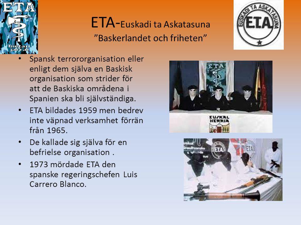 ETA-Euskadi ta Askatasuna Baskerlandet och friheten
