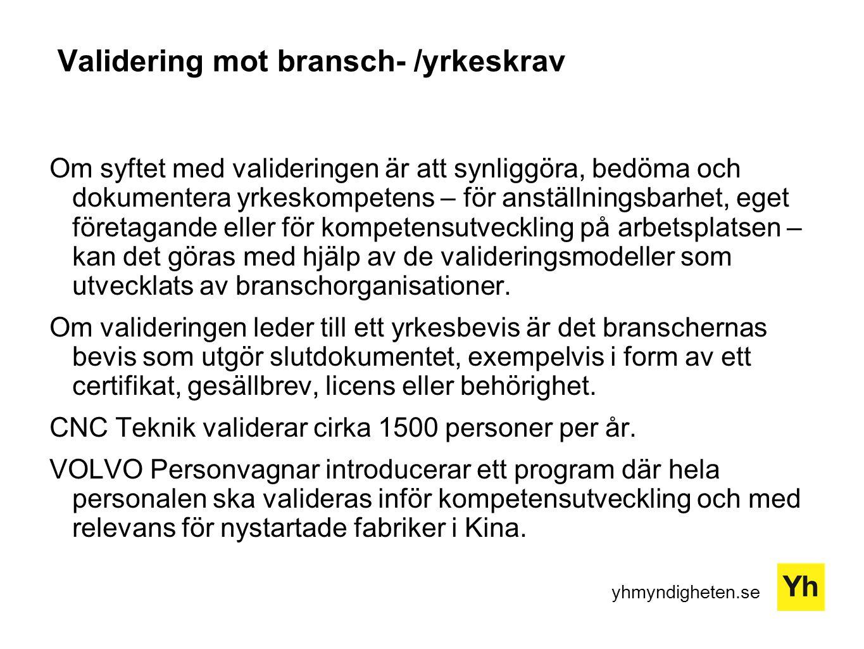 Validering mot bransch- /yrkeskrav