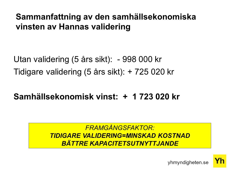 Sammanfattning av den samhällsekonomiska vinsten av Hannas validering