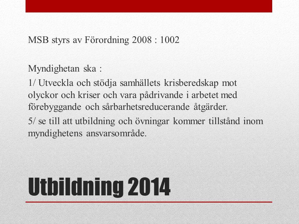 MSB styrs av Förordning 2008 : 1002 Myndighetan ska : 1/ Utveckla och stödja samhällets krisberedskap mot olyckor och kriser och vara pådrivande i arbetet med förebyggande och sårbarhetsreducerande åtgärder. 5/ se till att utbildning och övningar kommer tillstånd inom myndighetens ansvarsområde.