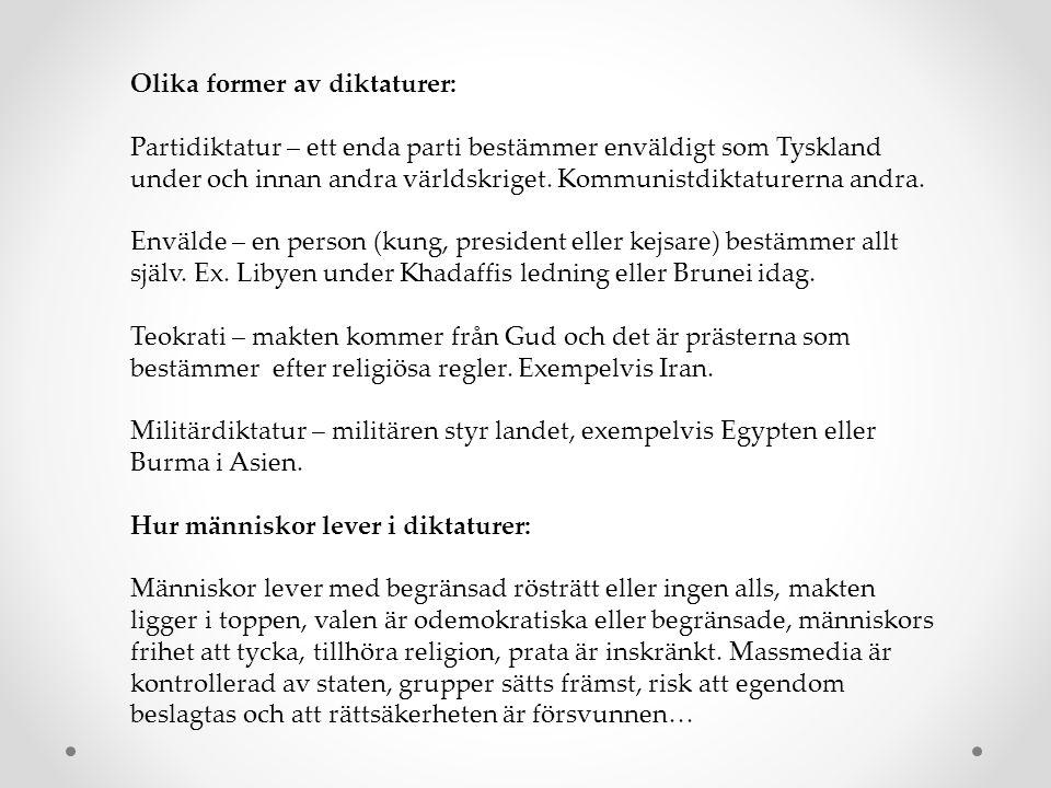 Olika former av diktaturer: