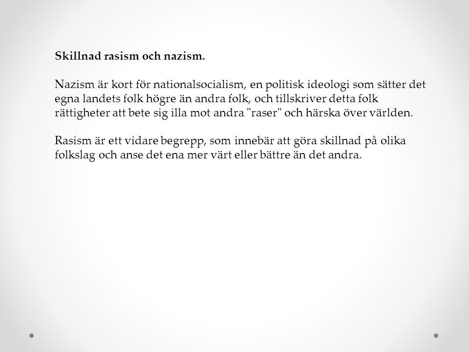 Skillnad rasism och nazism.