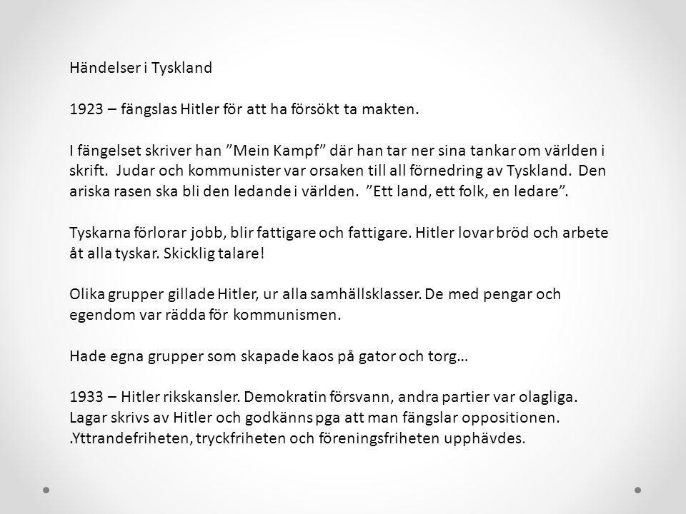 Händelser i Tyskland 1923 – fängslas Hitler för att ha försökt ta makten.
