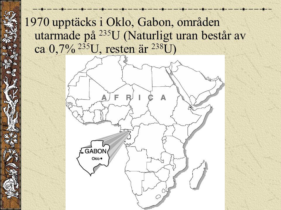 1970 upptäcks i Oklo, Gabon, områden utarmade på 235U (Naturligt uran består av ca 0,7% 235U, resten är 238U)