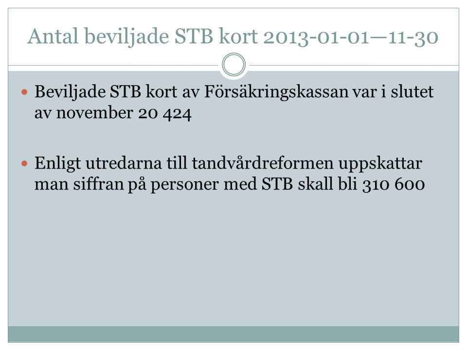 Antal beviljade STB kort 2013-01-01—11-30