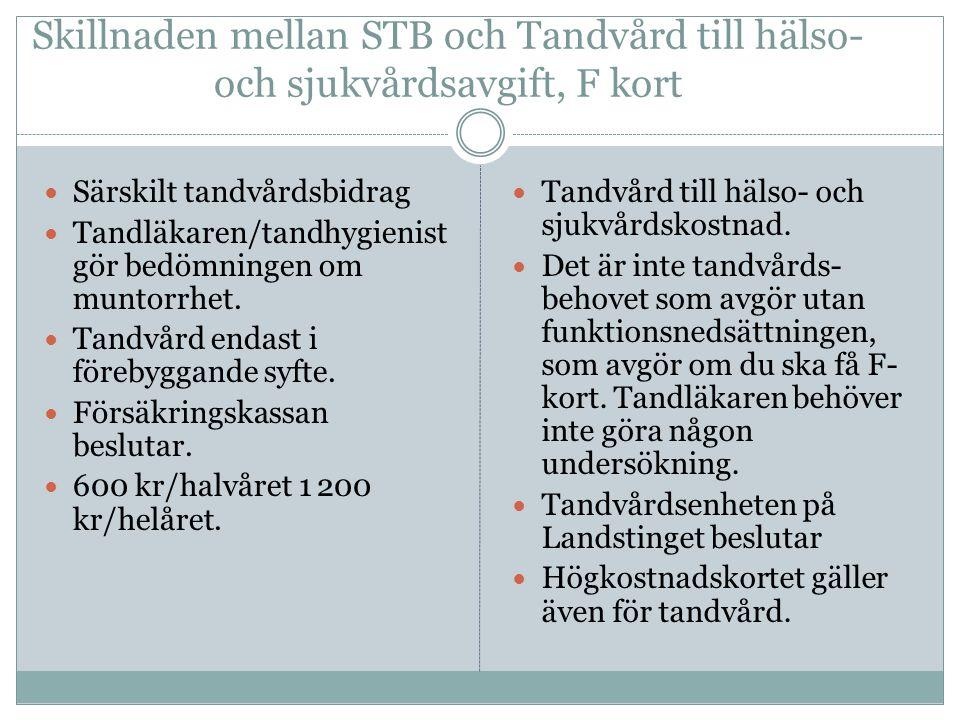 Skillnaden mellan STB och Tandvård till hälso- och sjukvårdsavgift, F kort