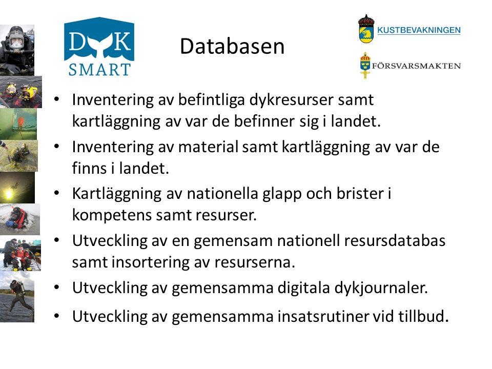 Databasen Inventering av befintliga dykresurser samt kartläggning av var de befinner sig i landet.