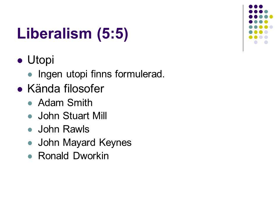 Liberalism (5:5) Utopi Kända filosofer Ingen utopi finns formulerad.