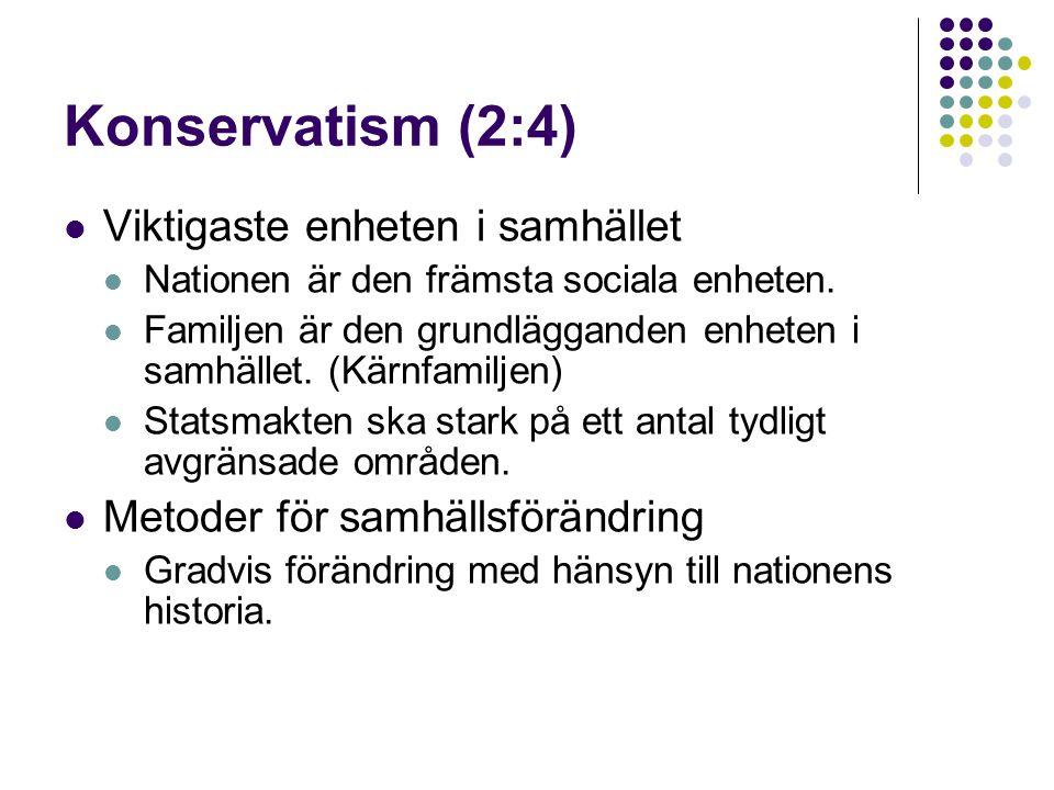 Konservatism (2:4) Viktigaste enheten i samhället