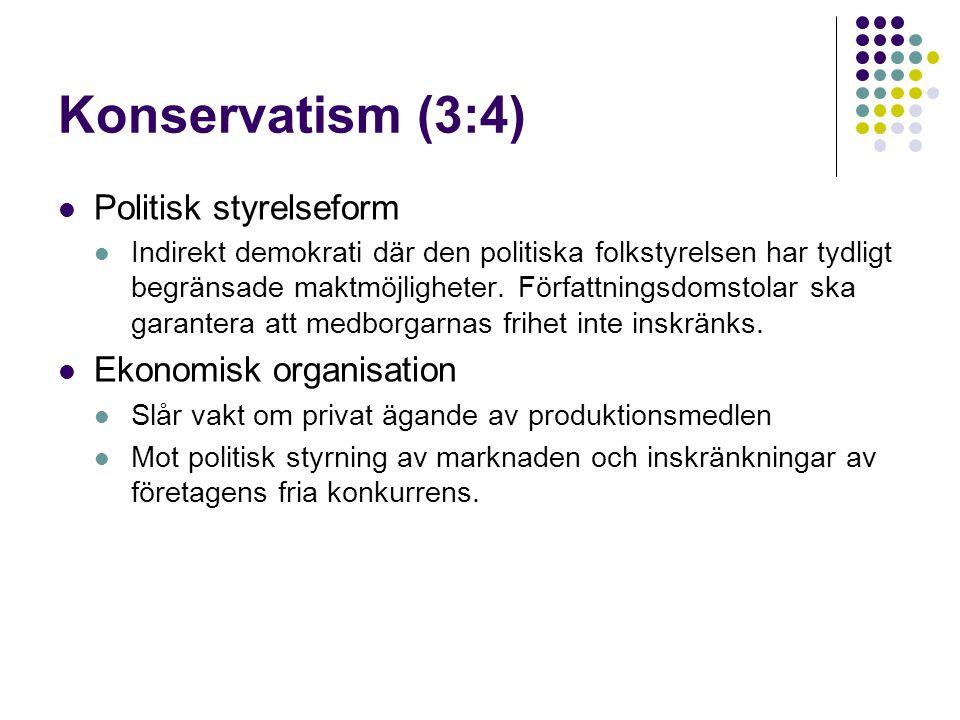 Konservatism (3:4) Politisk styrelseform Ekonomisk organisation