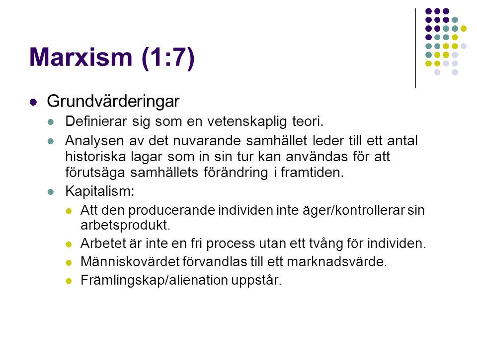 Marxism (1:7) Grundvärderingar