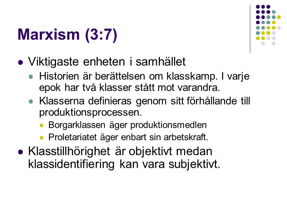 Marxism (3:7) Viktigaste enheten i samhället