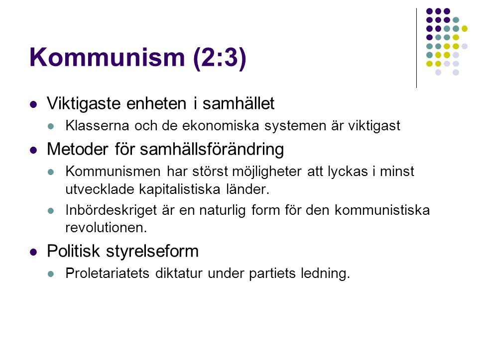 Kommunism (2:3) Viktigaste enheten i samhället