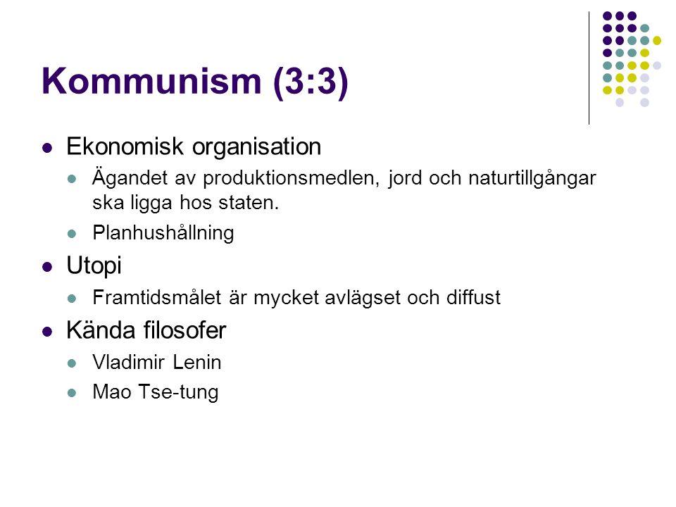 Kommunism (3:3) Ekonomisk organisation Utopi Kända filosofer