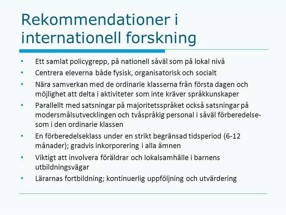 Rekommendationer i internationell forskning
