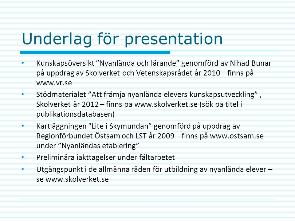 Underlag för presentation