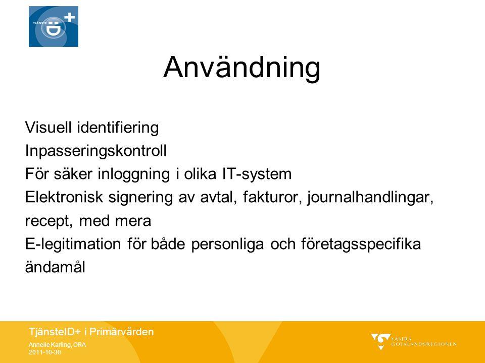 Användning Visuell identifiering Inpasseringskontroll