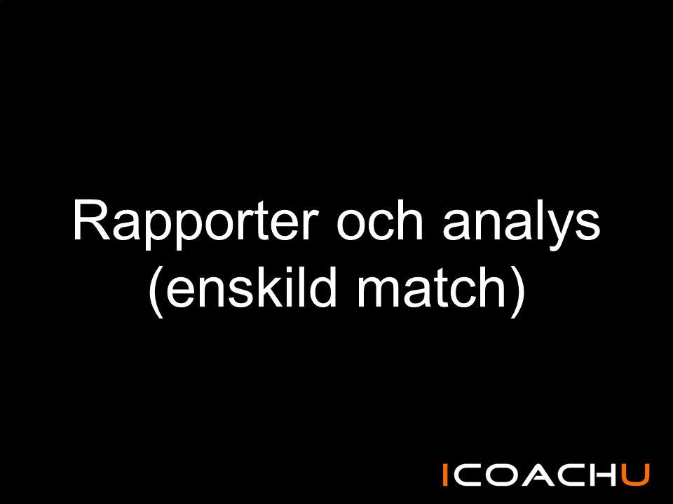 Rapporter och analys (enskild match)